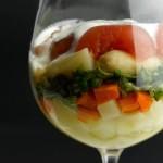Оливье с малосольной красной рыбой